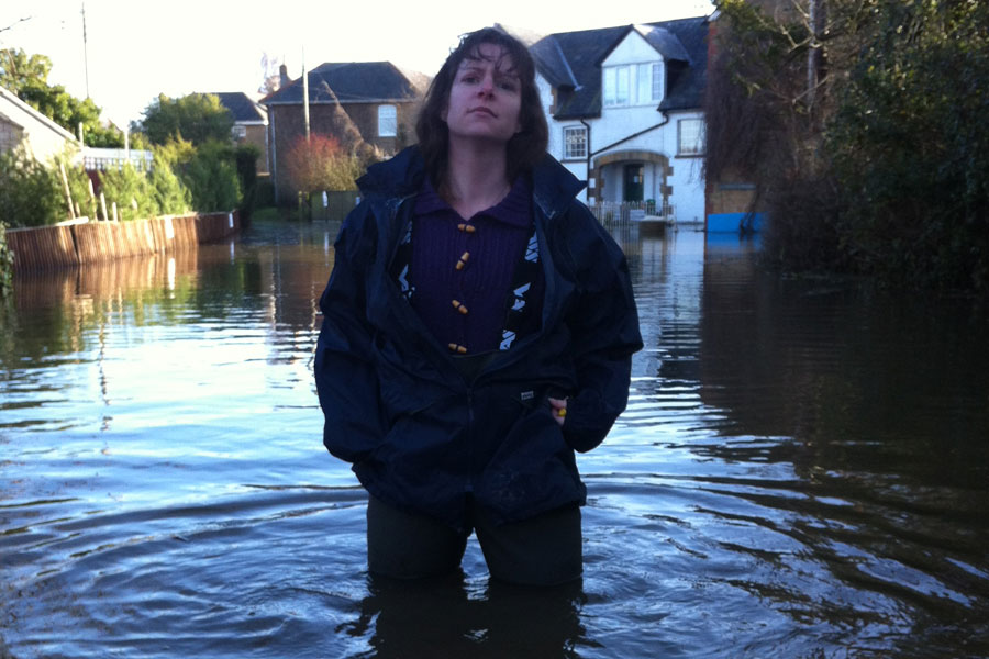 Cara standing in floodwater in the Somerset Levels