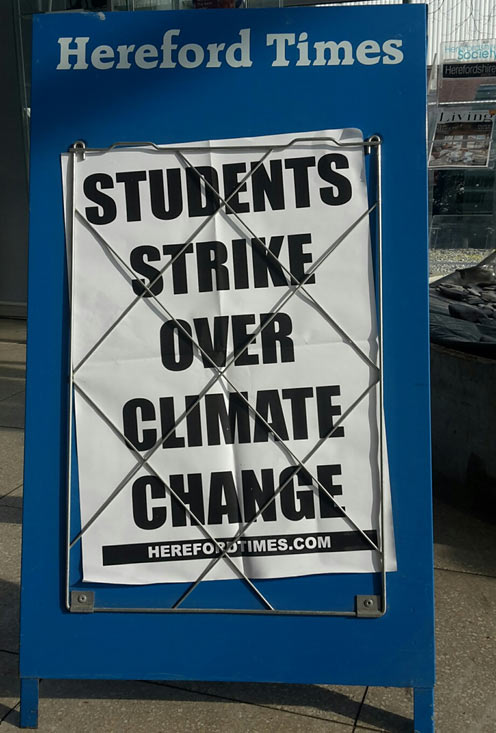 Newspaper board - Students strike over climate change