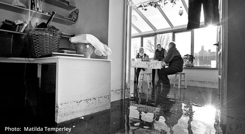 Somerset floods: couple in flooded conservatory