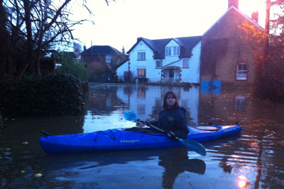 Cara in her kayak during the floods