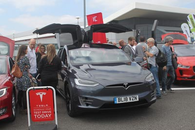 Tesla electric vehicle at Fully Charged Live 2018
