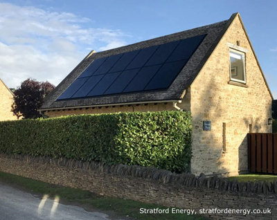 Solar panels on cottage roof.  Photo: Stratford Energy