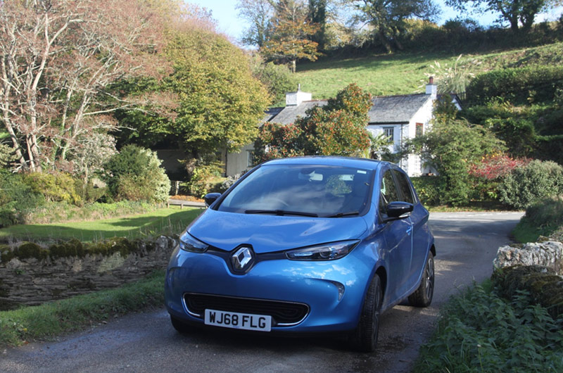 Blue Renault Zoe electric car