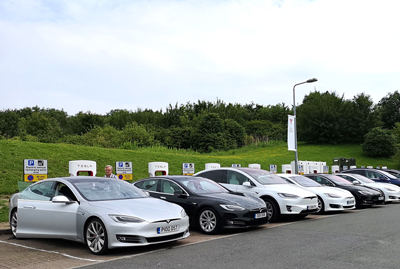 Full Supercharger Tesla service station
