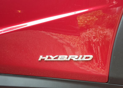 Red hybrid car door