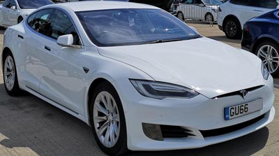 White Tesla electric car