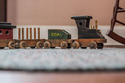 Antique wooden toy train