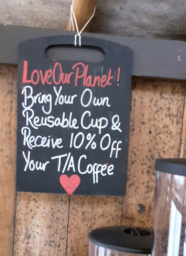 Coffee shop reward for bringing your own reusable cup