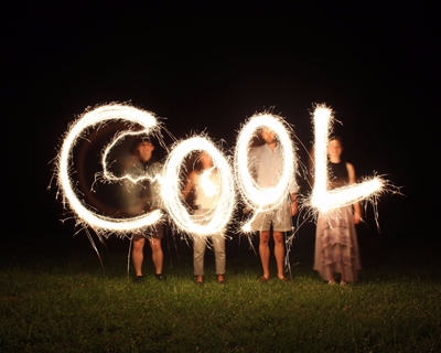 'Cool' - family with sparklers