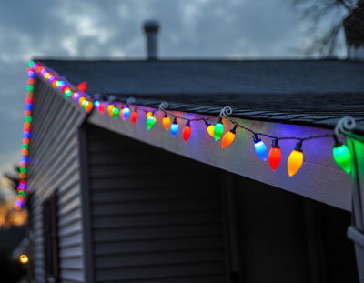 Fairylight on shed roof