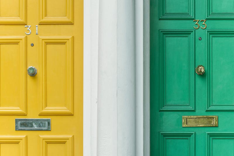 Yellow and green front doors