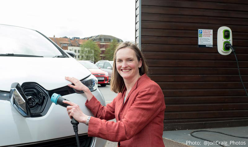 Angela Terry, founder of One Home, with the Renault Zoe