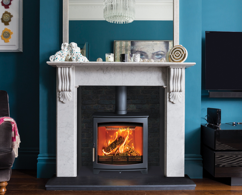 Hunter wood burning stove in living room