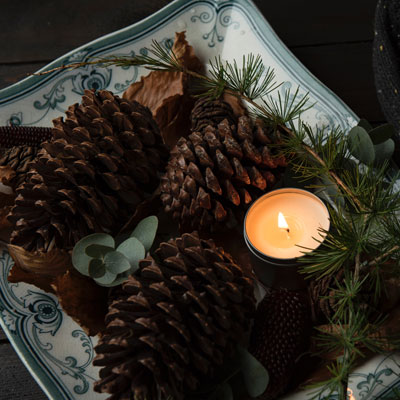 Pine cones with a candle